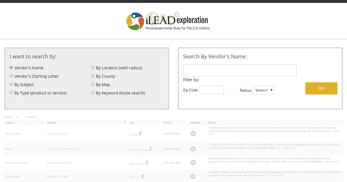 Vendor Search Tool Ilead Exploration