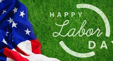Digital composite image of happy labor day text with blue outlin