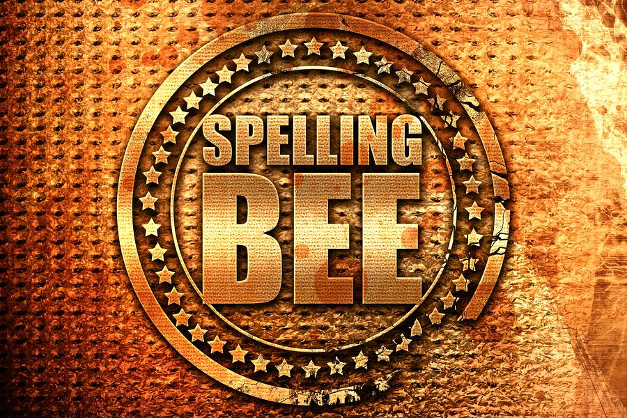 spelling bee, 3D rendering, grunge metal stamp