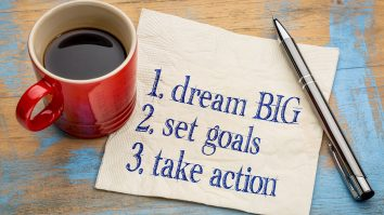 dream big, set goals, take action - inspirational handwriting on